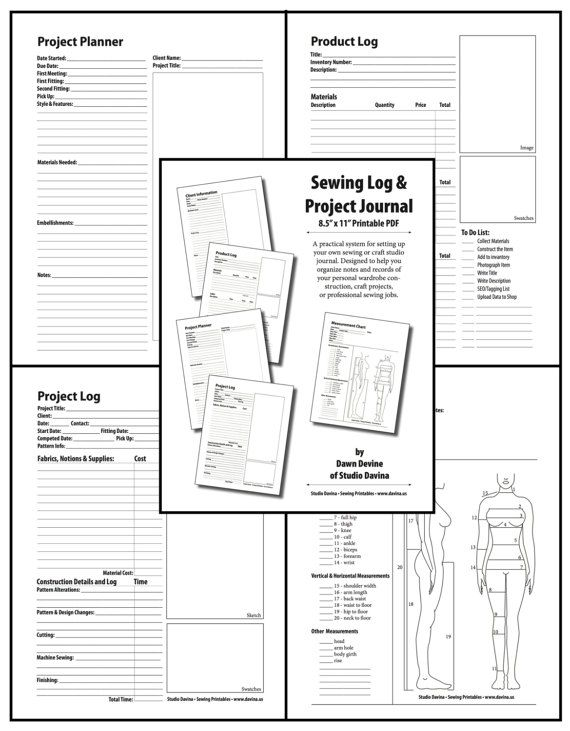 """Sewing Log & Project Journal: 5 forms to plan and document crafting, costuming, and fiber arts 