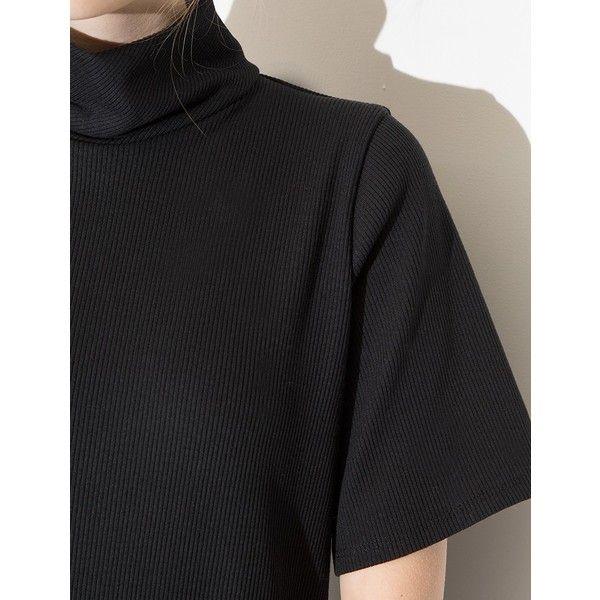 Black Mock Neck Midi Dress - Normcore Dress (380 BRL) found on Polyvore featuring women's fashion, dresses, ribbed jersey dress, midi day dresses, mid calf dresses, ribbed mock neck dress and rib dress