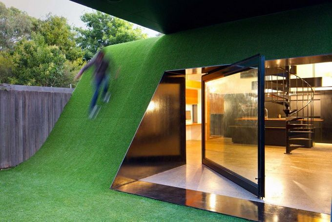 "Could you imagine the fun sliding off this roof?  ""Hill House by Andrew Maynard Architects"