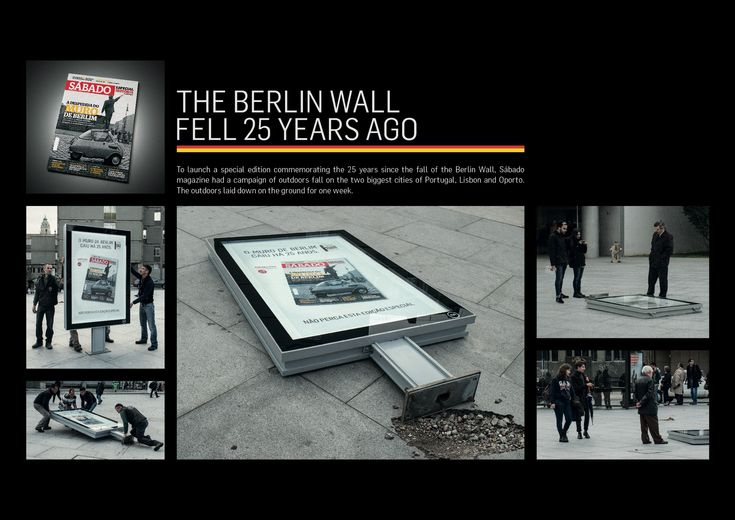 Sábado magazine special edition commemorating the 25 years since the fall of Berlin Wall. Guerrilla action on the streets of Porto, Lisbon and Oporto.