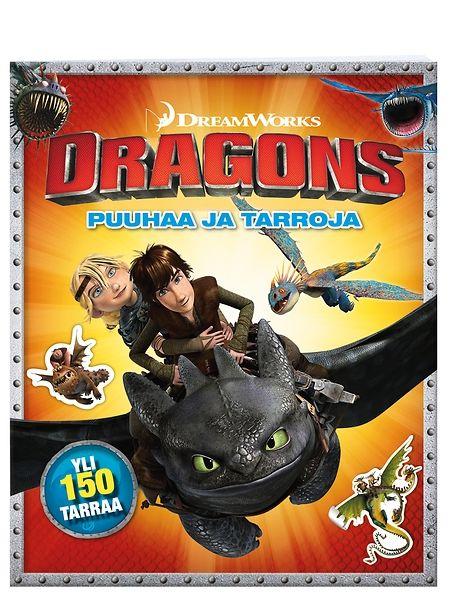 Dragons, Puuhaa ja tarroja -kirjan tulenkatkuisten tehtävien parissa ei käy aika pitkäksi. Etsi lohikäärmeratsastajien leiriin soluttautunut vihollinen, piirrä oma lohikäärmeesi ja auta Hikotusta löytämään reitti Hampaattoman luo! Dragons-fanit ilahtuvat myös kahdesta runsaasta tarra-arkista, joissa poseeraa värikäs joukko tv-sarjasta ja elokuvista tuttuja hahmoja.