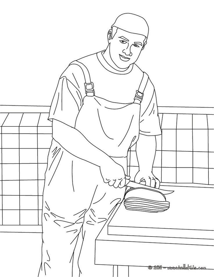 Butcher slicing meat coloring page. Butcher slicing meat coloring page for kids of all ages. Add some colors to create your piece of art.