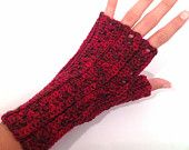 Red Crochet luvas sem dedos
