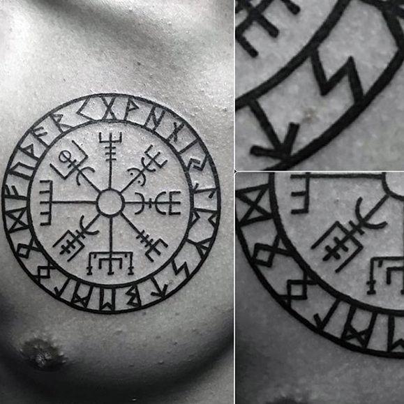 Tendances tatouage – Tatouage thoracique supérieur compas viking circulaire pour homme