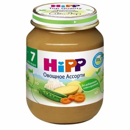 Hipp Пюре Овощное ассорти с 7 мес., 125 г  — 85р. --------------  Пюре Hipp Овощное ассорти - овощное пюре для грудных детей, это полезное дополнение в рационе питания ребенка. Содержит минеральные вещества и микроэлементы, а также пищевые волокна, которые являются природными регуляторами пищеварения. С натуральным бета-каротином — предшественником витамина А, благоворно влияющим на зрение.  Органический продукт. Для здорового и сбалансированного питания Вашего малыша: без добавления…