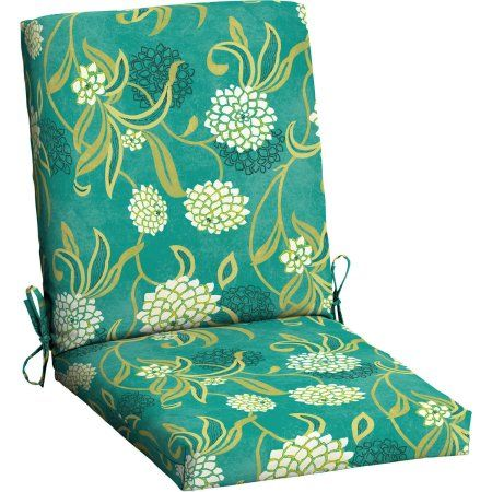 Mainstays Outdoor Patio Dining Chair Cushion, Green Texture