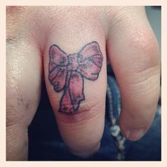 Bow Finger Tattoos on Pinterest | Small Bow Tattoos Messed Up Tattoos ...