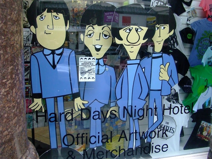 Hard Days Night Hotel Shop Window - More pics Click >> http://winstonlennon.com/hard-days-night-hotel-shop-window/ - It's a cartoon world, as demonstrated by The Beatles as they gaze out on North John Street in Liverpool's city Centre...