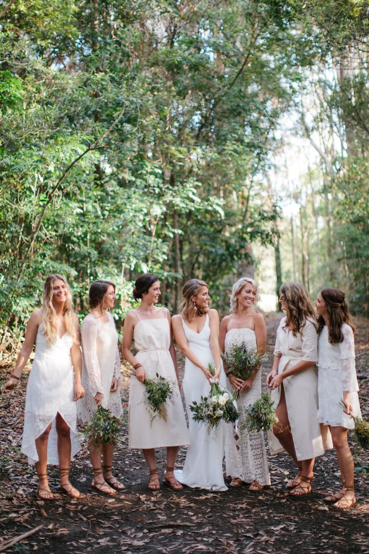 mixed white bridesmaid dresses