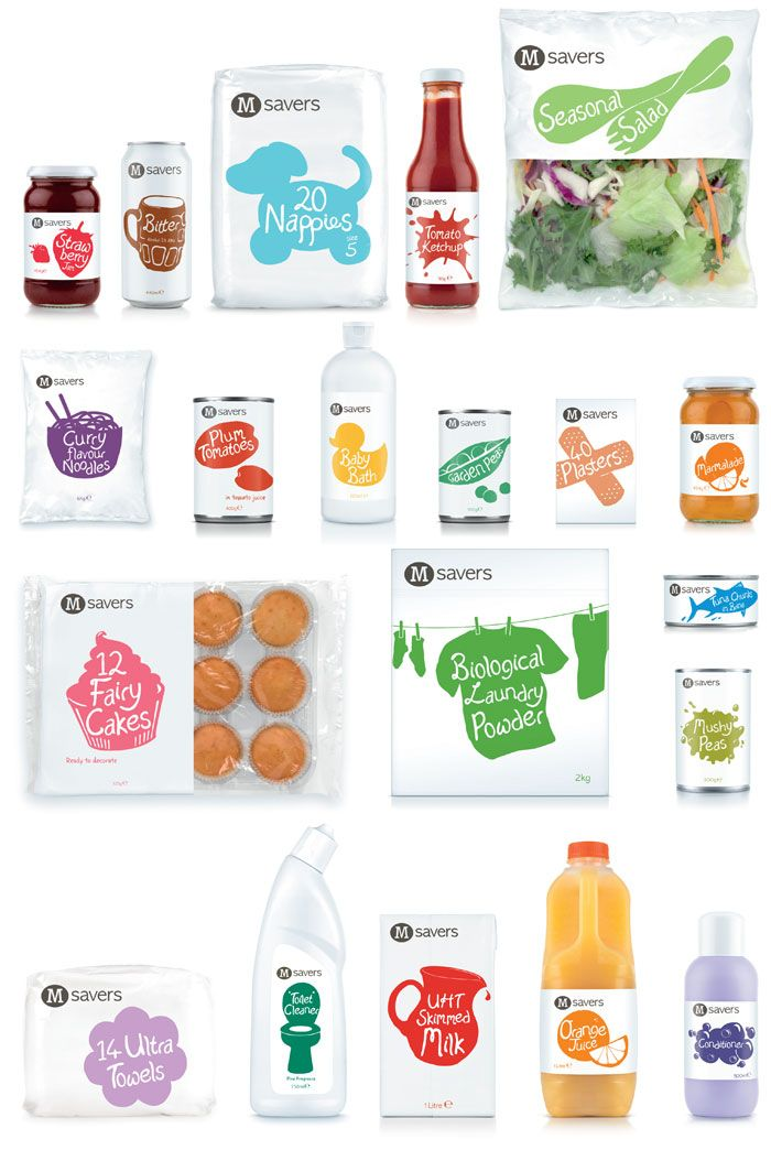 Simplicity on private label across a family of products.: Design Inspiration, Graphic Design, Morrisons Savers, Food, Packaging Design, Branding, Savers Packaging, Creative Package Design
