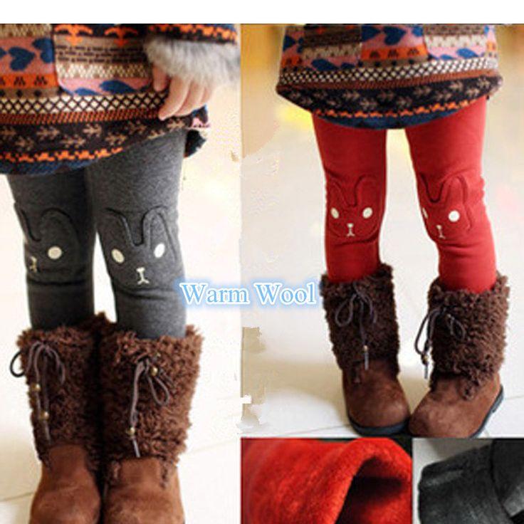 Девушка леггинсы детских зима снег одежда характер кролик дизайн теплый дети леггинсы для девочек брюки высокое качество теплые брюки