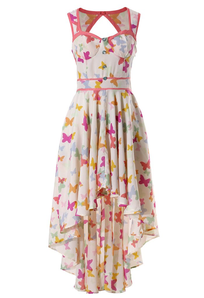 Butterfly Print Asymmetric Waterfall Dress - Dress - Retro, Indie and Unique Fashion