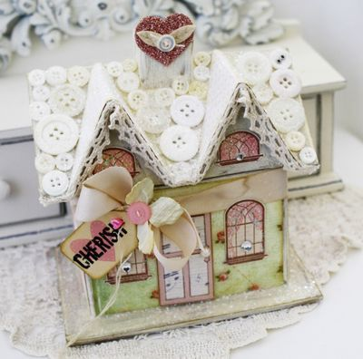 Buttons on the rooftop of this cute paper cottage, Melissa Phillips