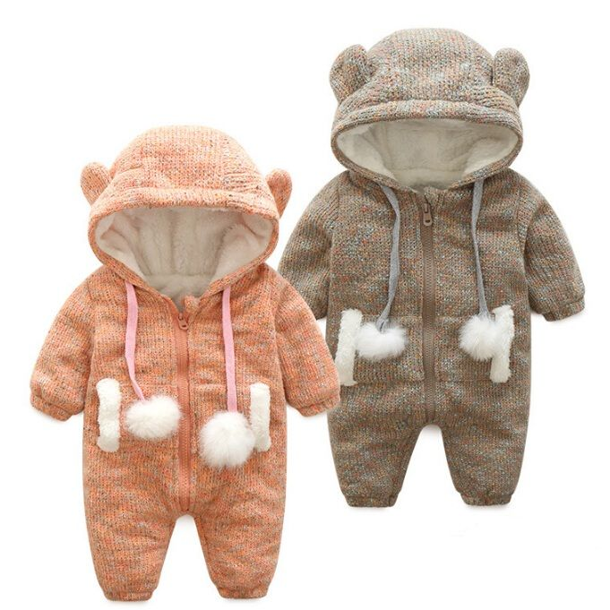 2017 Baby Warm Thick Winter Knitted Sweater Rompers Newborn Boys Girls Jumpsuit Climbing Clothes Christmas Deer Hooded Outwear