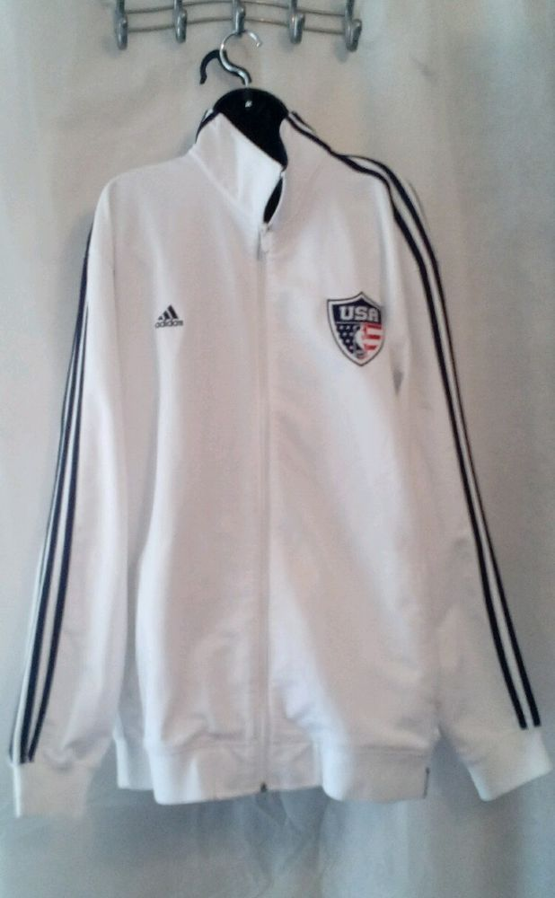 Adidas TEAM USA Olympic basketball warmup jacket white/navy blue 2XL #adidas…