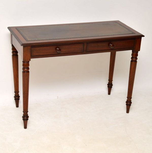 Antique Victorian Mahogany Leather Top Writing Table Mahogany Leather Writing Table Antique Desks For Sale