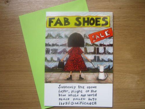 Shoes-Female-Womens-Joke-Humerous-Happy-Birthday-Blank-Greeting-Card-776