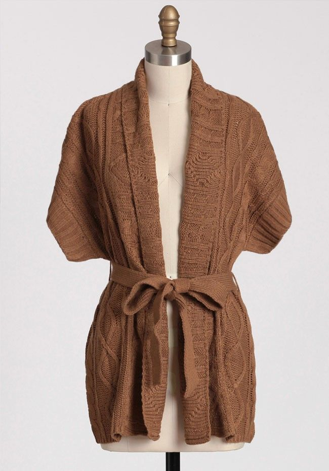 Dulcet Belted Cableknit Cardigan | Modern Vintage Sweaters $45.99