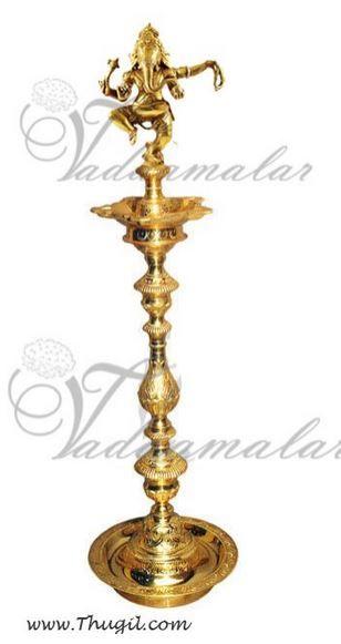 "14"" Ganesha Standing Brass Diya India Indian Gift"