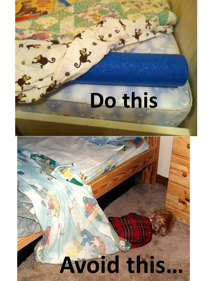Real life example... (put pool noodle @ edge of bed under ...