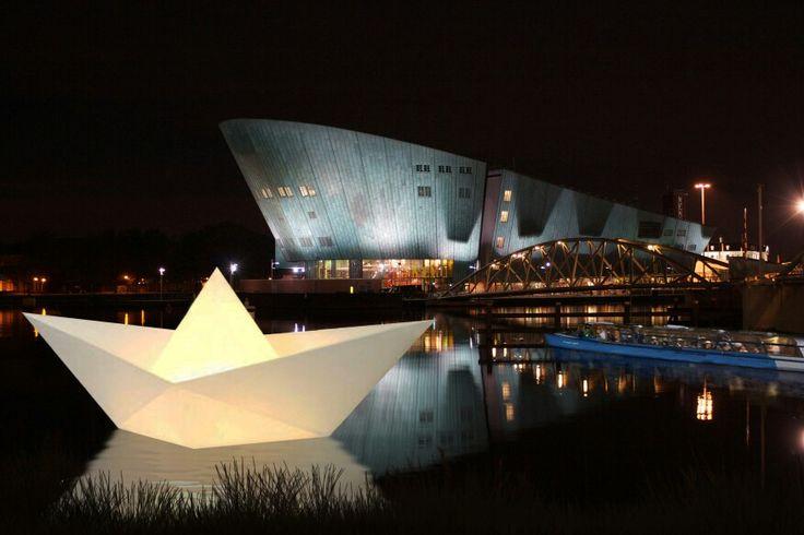 Paper Boat Installation at the Amsterdam Light Festival.