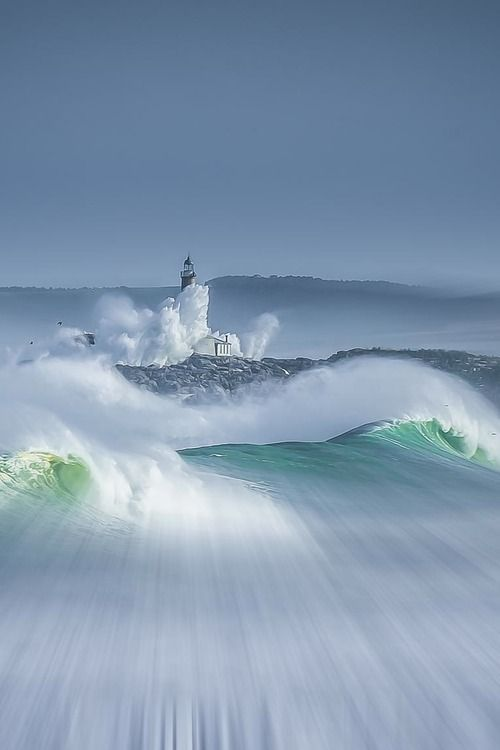 Mouro Island Lighthouse, Spain.