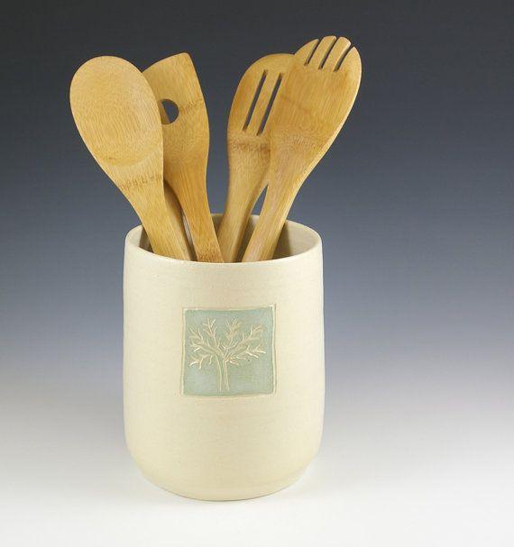 Ceramic Utensil Holder Crock Handmade White By Fineartstoneware
