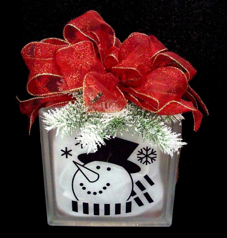 Snowman Glass Block designed by Karen S., A.C. Moore Erie, PA #christmas #glassblock