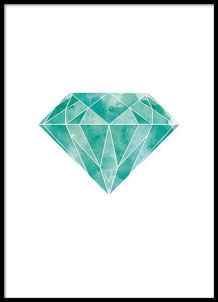 Een grafische poster met een diamant / smaragd in een mooie groene, turquoise kleur. Deze poster kan als kleuren detail gebruikt worden voor een interieur met neutrale tinten of met andere mooie kleuren. Past goed in de kinderkamer. www.desenio.nl