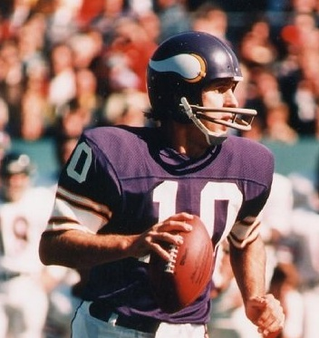 "The first Minnesota Vikings player inducted into the Pro Football Hall of Fame. ""Fran the Man"" Tarkenton"". Thee greatest"