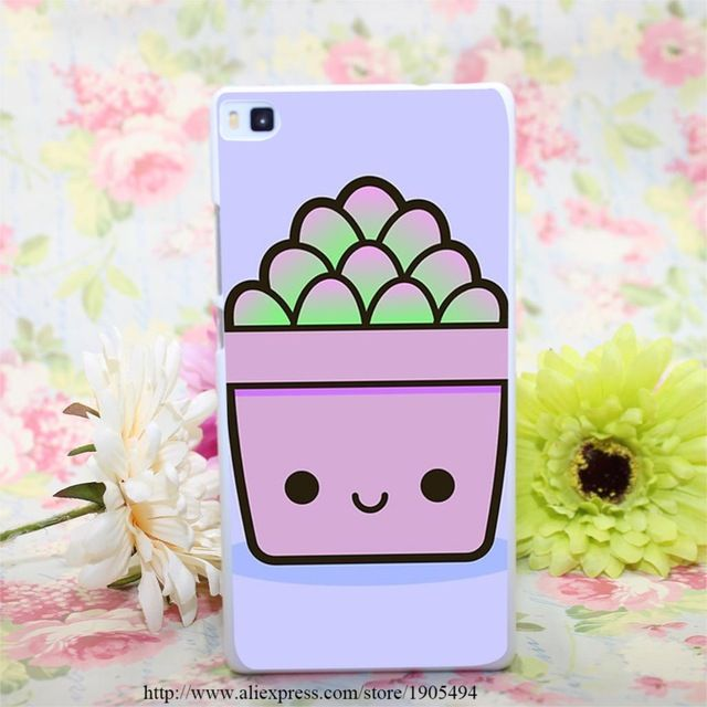 1371HQA Succulent in cute pot Hard White Painted Case Cover for Huawei Ascend P6 P7 P8 P8 Lite Colorful Protective Case