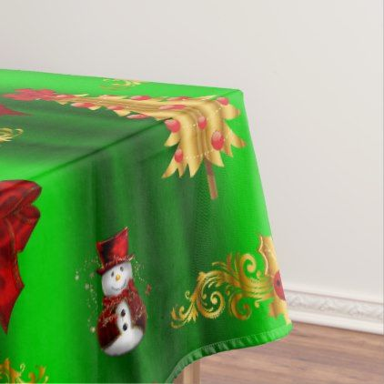 Christmas Decorations On Green Tablecloth   Red Gifts Color Style Cyo Diy  Personalize Unique