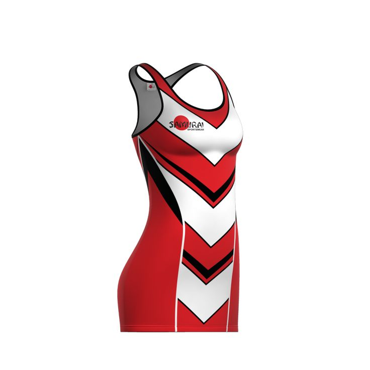 Big V Netball dress in black, red and white. Get this or other netball kit designed at www.samurai-sports.com