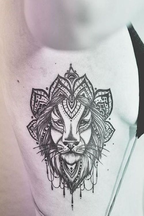 lioness tattoo in graphic style with ornaments