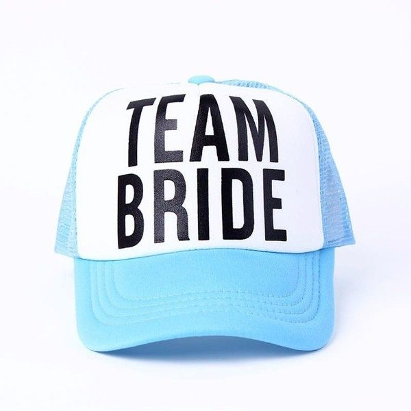 Bridal Bachelorette Trucker Hats ($15) ❤ liked on Polyvore featuring accessories, hats, party trucker hats, 5 panel hat, trucker hats, party hats and bridal hats