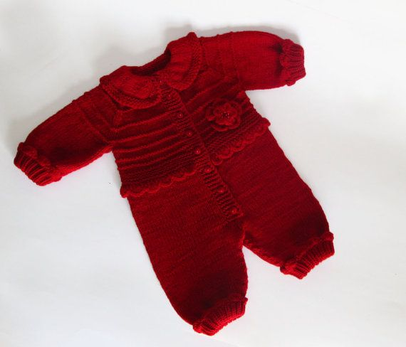 Baby jumpsuit with flower   red baby overall  by iziknittings, $55.00