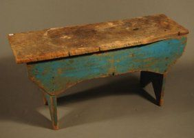 ": Antique Country Primitive Bench Painted Blue. 19""$350"