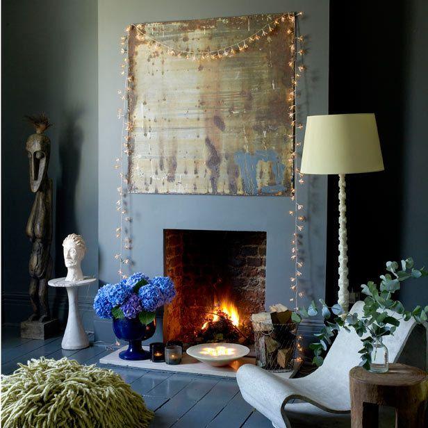 Love the art.Twinkle Lights, Decor Ideas, Trav'Lin Lights, Fairies Lights, Fairylights, Fairy Lights, Ducks Eggs Blue, Lights Ideas, Blue Living Room