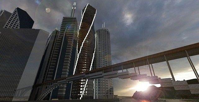 Twisting Tower   Skyscraper   Minecraft Building Inc