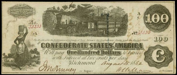 Confederate Currency 1862 $100 Dollar CSA Train Note T-40 - Interest bearing notes  Description: This $100 Confederate note shows a Railway train with white smoke in the center with people on platform and along the left side of the note is standing woman holding a basket on her head representing a milkmaid. This note was printed with black ink and has no design on the reverse. On the back of this Confederate Money are three interest paid stamps.