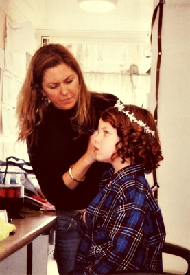 Georgie getting her hair done for the coronation scene by hair stylist Nikki Gooley