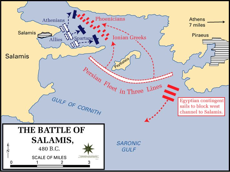 The distribution of the respective fleets of the Greek allied states (blue) against the Persian forces of Xerxes (red), 480 BCE. The Greeks would outmanoeuvre the Persians in the shallow waters of the straights and win a victory which would (with the land Battle of Plataea one year later) end Xerxes' imperial ambitions in Greece. US Military Academy map.