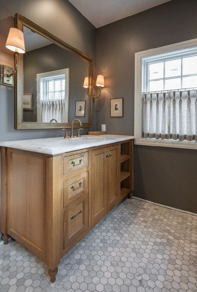Blog With Ideas For Decorating Dwellings By Devore Master Bathroom Bathroom Wall Colors Gray Bathroom Walls Brown Cabinets