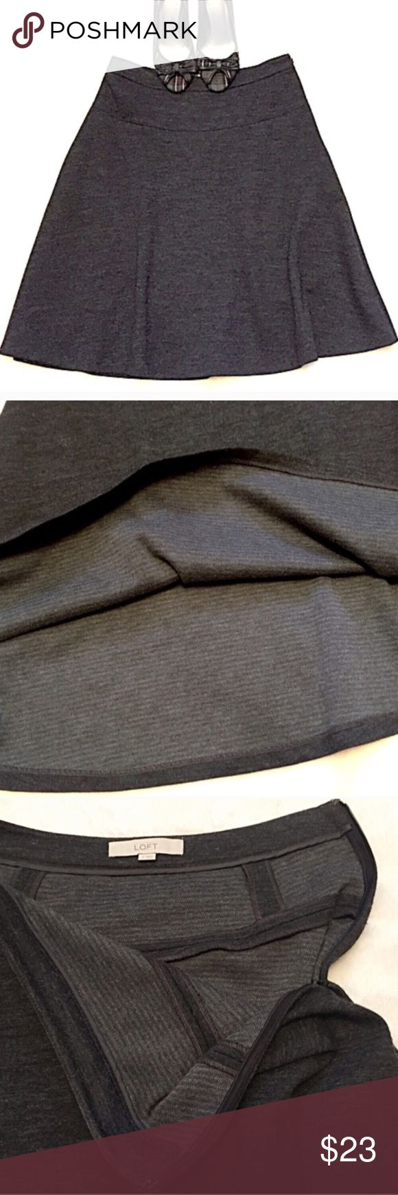 "❣️BOGO 1/2 off❣️🆕 LOFT A line wool gray skirt 4 Beautiful charcoal gray color. Super soft & not itchy wool blend. Size 4.  23"" long & 29""waist. Side zip & hook closure. Flawless condition. Freshly dry cleaned. ✖️I do NOT MODEL✖️ 🔴Bundle your likes for a custom private offer. 🔴NO TRADES. 🔴REASONABLE offers welcome via offer button. Smoke free home. Fast shipping! LOFT Skirts A-Line or Full"