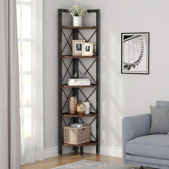 5 Tier Corner Shelf Modern Corner Bookshelf Small Bookcase In 2021 Living Room Corner Decor Living Room Corner Shelf Decor Living Room