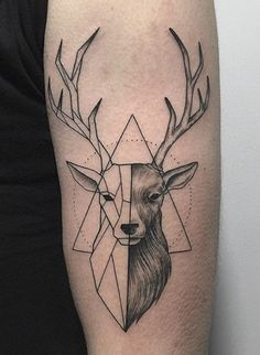 Nice Big Horn Deer Geometric Face With Small Triangle Tattoo