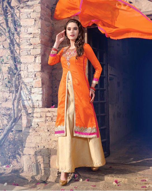 Bright Orange BhagalPuri Silk Top With Stone Work, off white Free Size Stitched Lehenga with Pure Chiffon Dupatta Decorated With Lace All Around. #salwarsuits #partywearsuits #designersuits #ladiessuits #silksuits #lehenga #designerlehenga