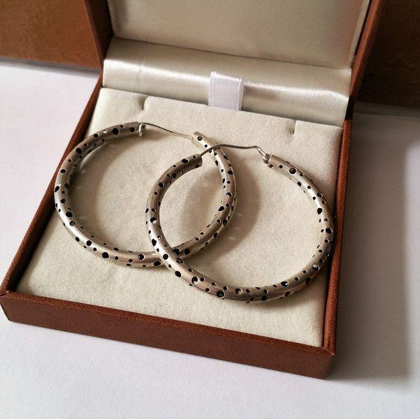 Vintage Ohrhänger - Creolen Ohrringe Silber 925 groß Design rar SO236 - ein Designerstück von Atelier-Regina bei DaWanda