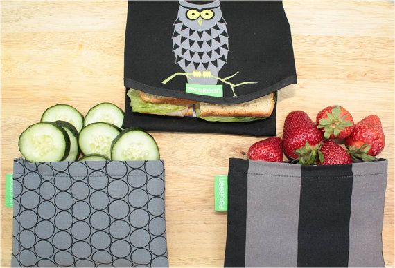 Reusable Sandwich Wrap and Snack Bags by PB GREEN Night by PBGREEN, $19.99