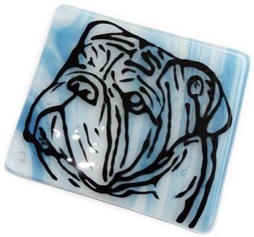 Glazen onderzetter handgemaakt van blauw glas met engelse bulldog brandschildering!
